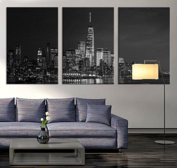 Art canvas print new york skyline night cityscape new york large canvas print