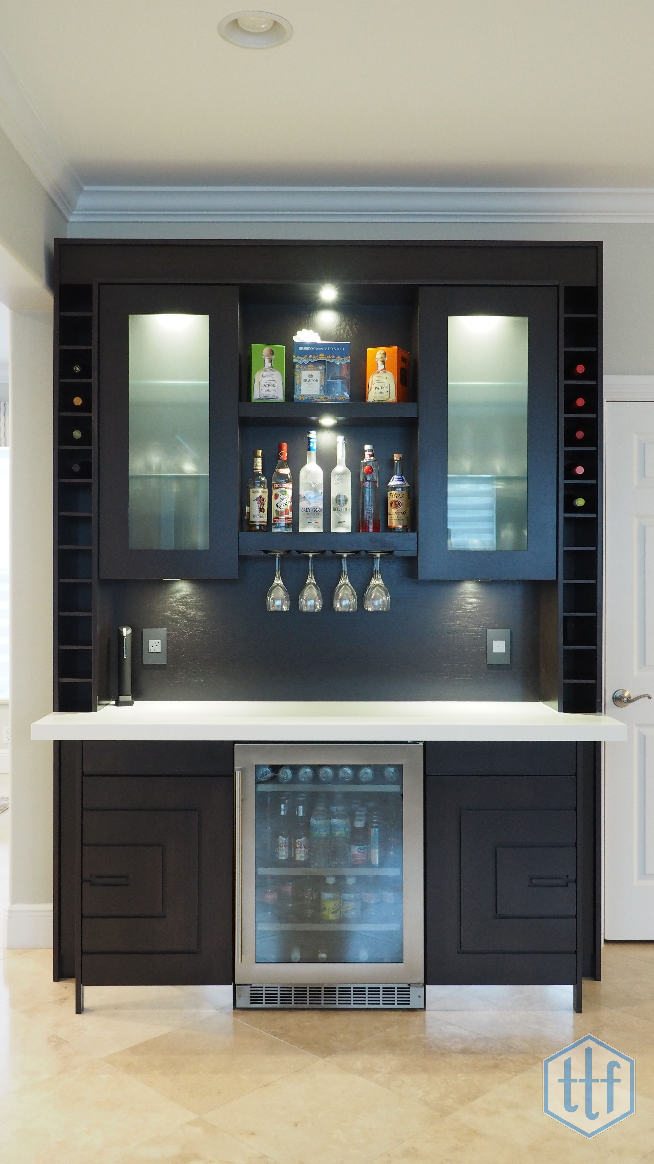 Walk Up Bar Espresso Satin Stained Rift Cut Oak And Maple Undercounter Beverage Center Wine Pigeon Holes Frosted Gl Door Inserts Polished