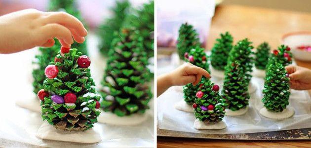 Manualidades para navidad hechas con pi as para decorar - Pinas de pino para decorar ...