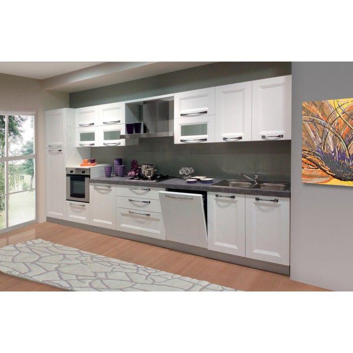Cucina tutta bianca con anta laminato spazzolato completa di elettrodomestici arredamento casa - Cucina tutta bianca ...