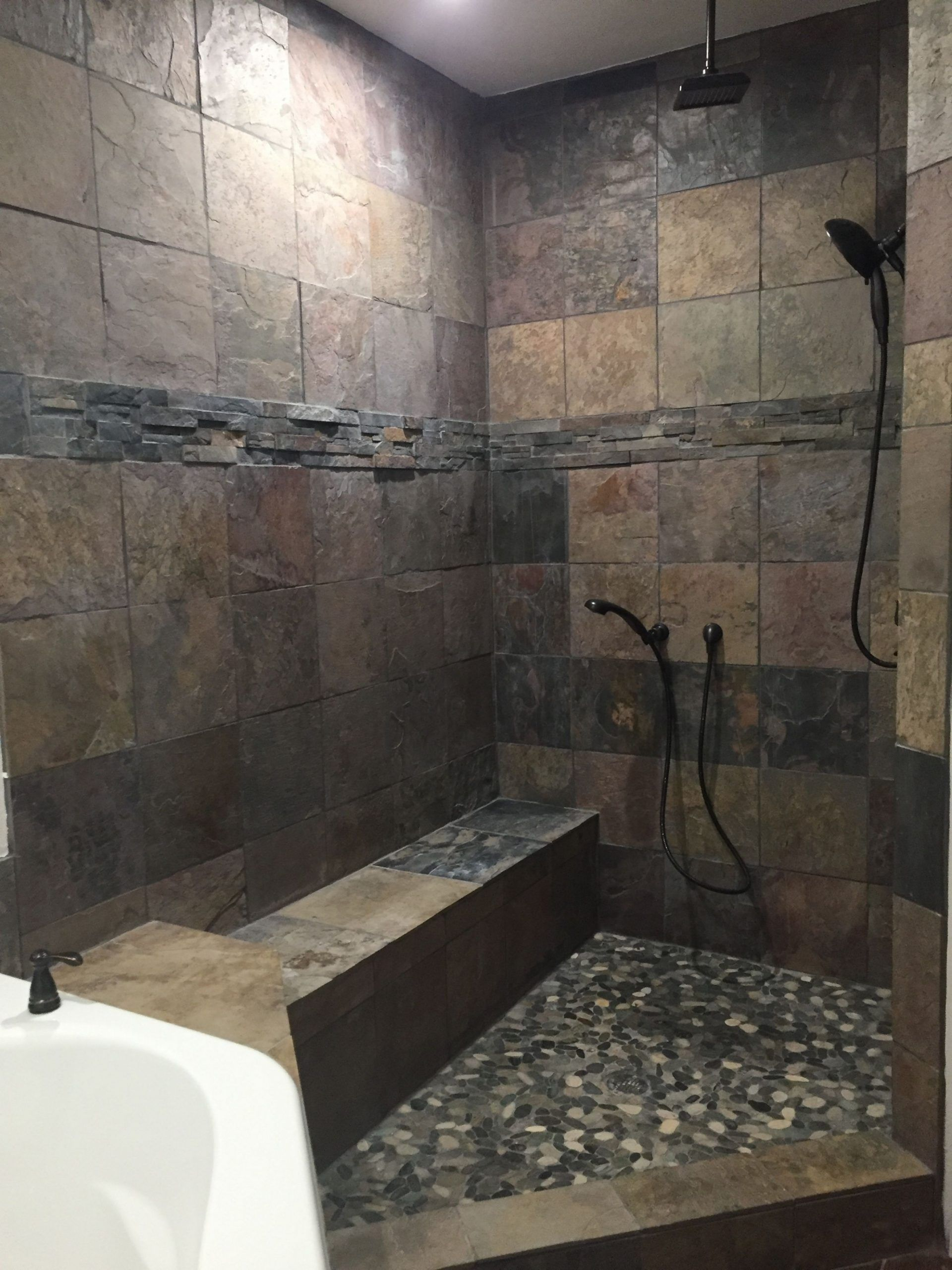 Small Bathroom Open Shower Ideas In 2020 Rustic Bathroom Shower Farmhouse Shower Shower Remodel