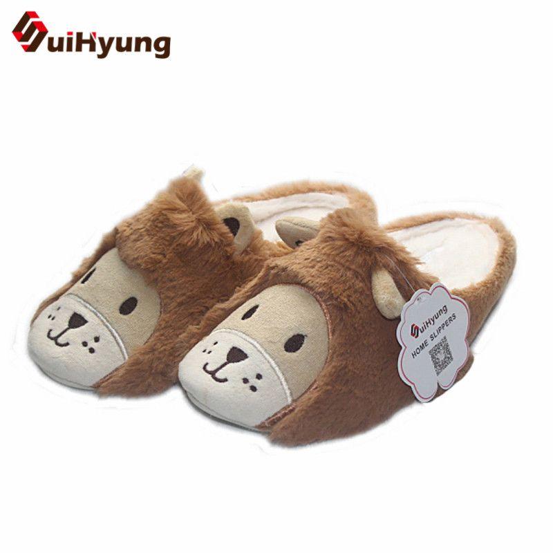 Winter Warm Unisex Cute Cat Plush Slippers Indoor Soft Cozy Anti-Slip Home Shoes
