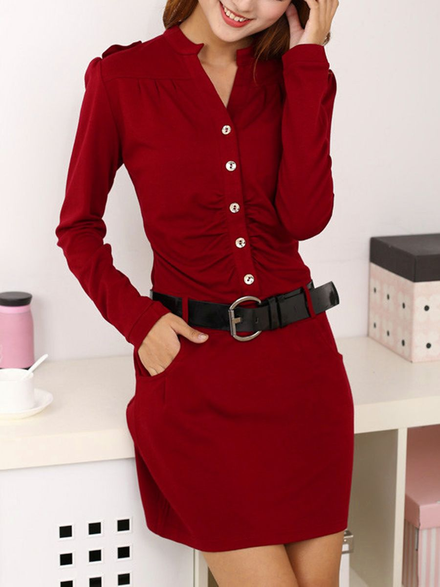 M/&S/&W Womens Party Office Work Bodycon Retro V Neck Pencil Midi Dress