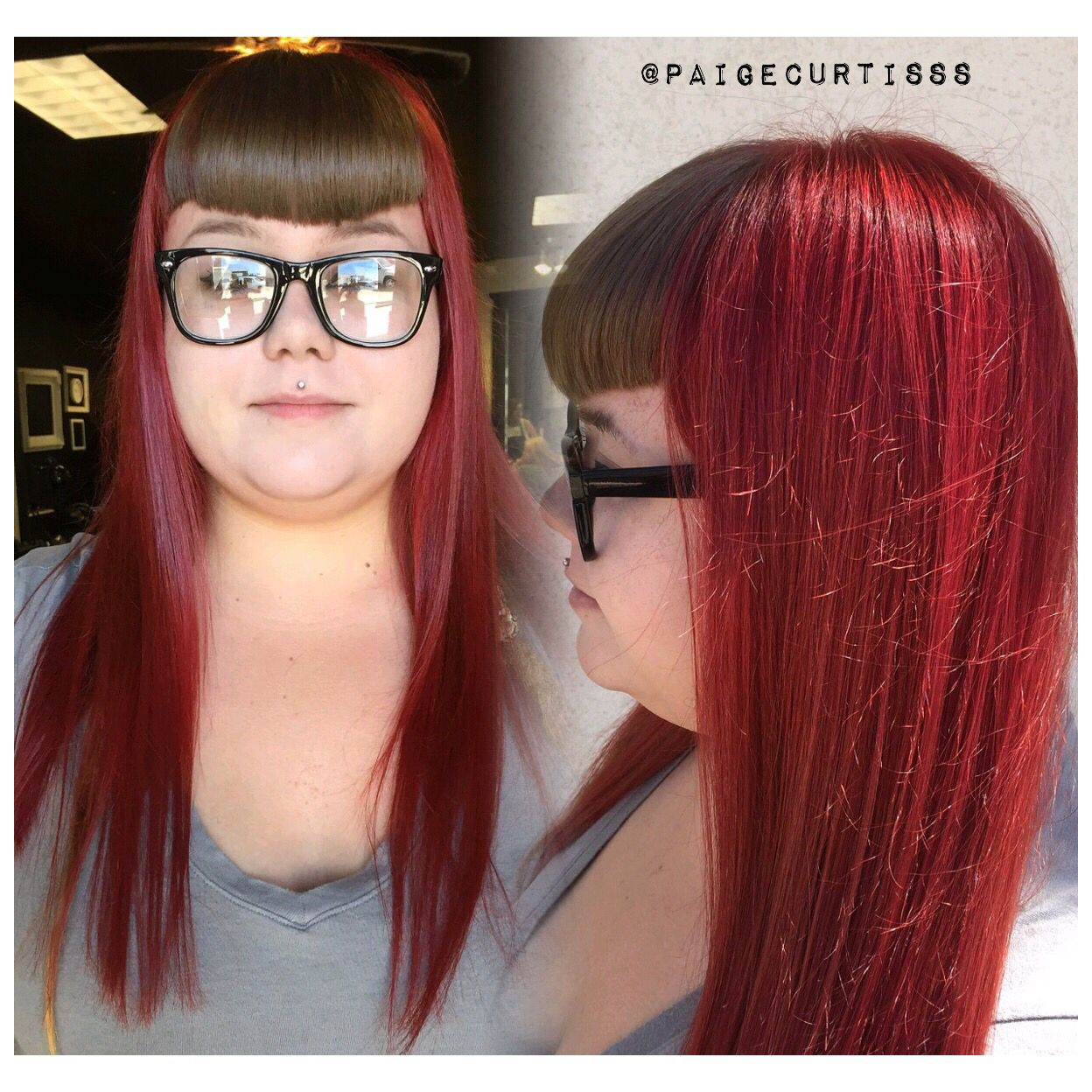 Two toned hair. Red/gray hair. | Personal Work. | Pinterest | Gray ...