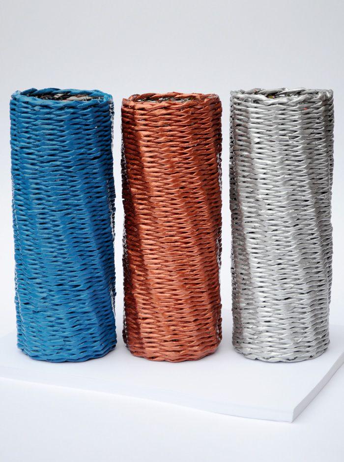 paper baskets blureco ujságpapír fonás pinterest paper