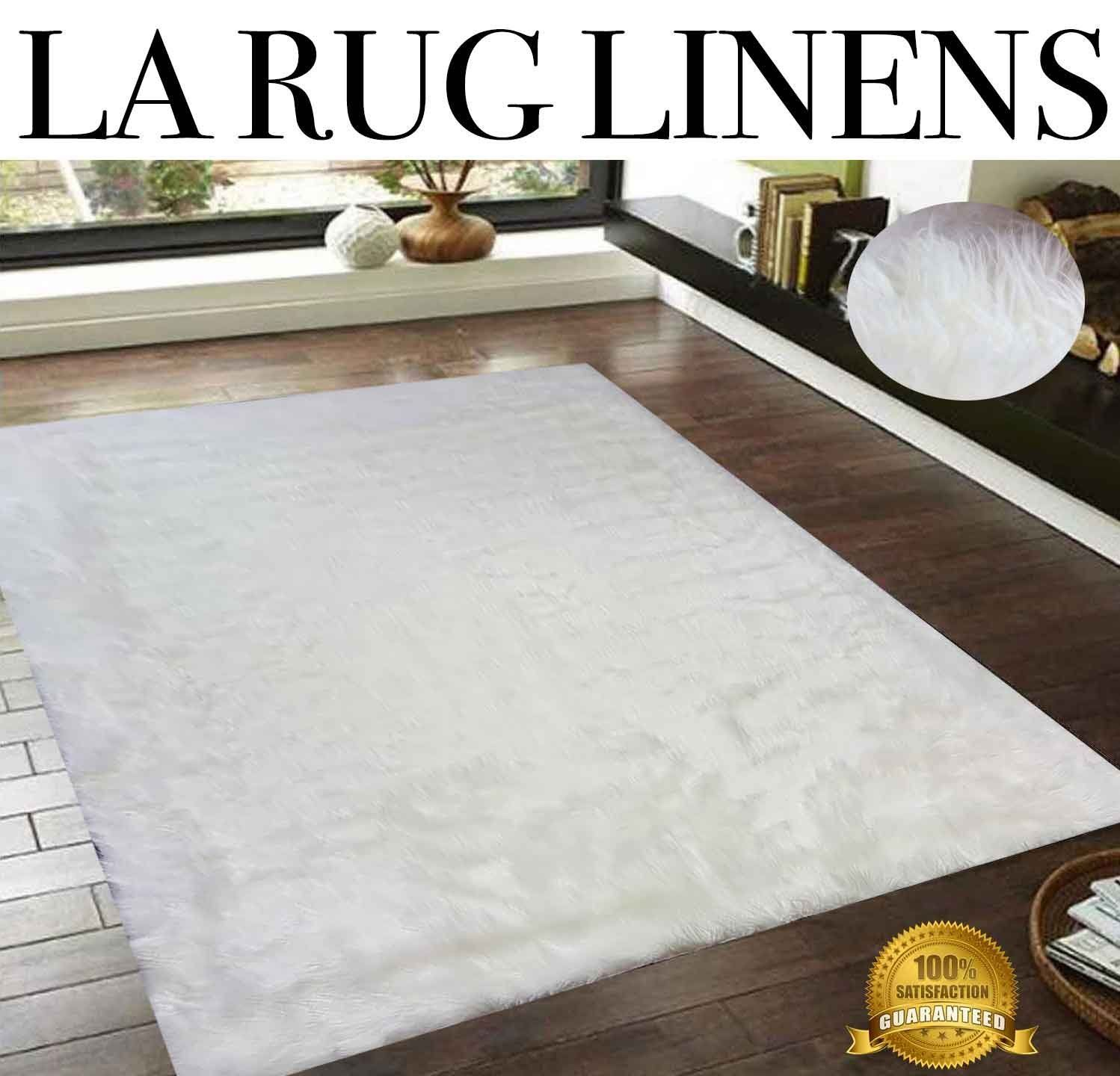 7X7 Area Rugs For Dining Room White Blanco Faux Fur Shaggy Shag Area Rug 5 X 7 High End Designer