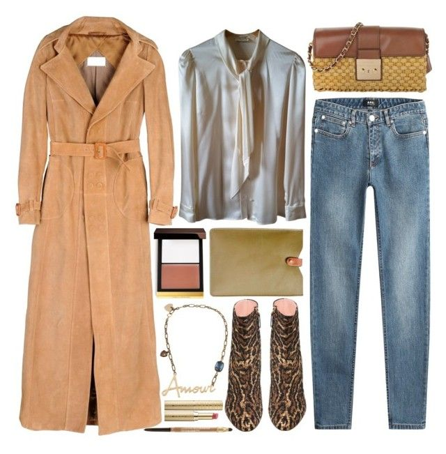 """""""long camel coat"""" by foundlostme ❤ liked on Polyvore featuring Maison Margiela, MICHAEL Michael Kors, A.P.C., Rochas, Yves Saint Laurent, Tom Ford, N'Damus, Lanvin, Sephora Collection and Lancôme"""