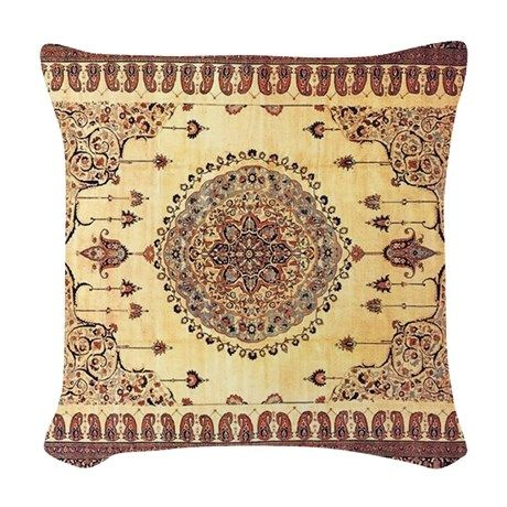 Persian rug brown and tan woven throw pillow on cafepress com also