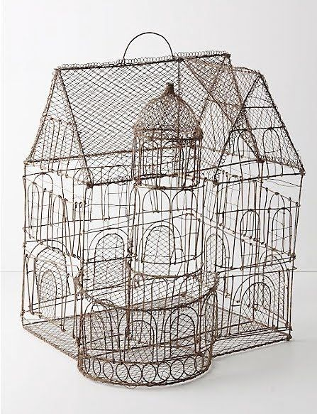 Love this wonderfully sweet wire bird cage by artist Marie Christophe — it's like a 3D drawing.