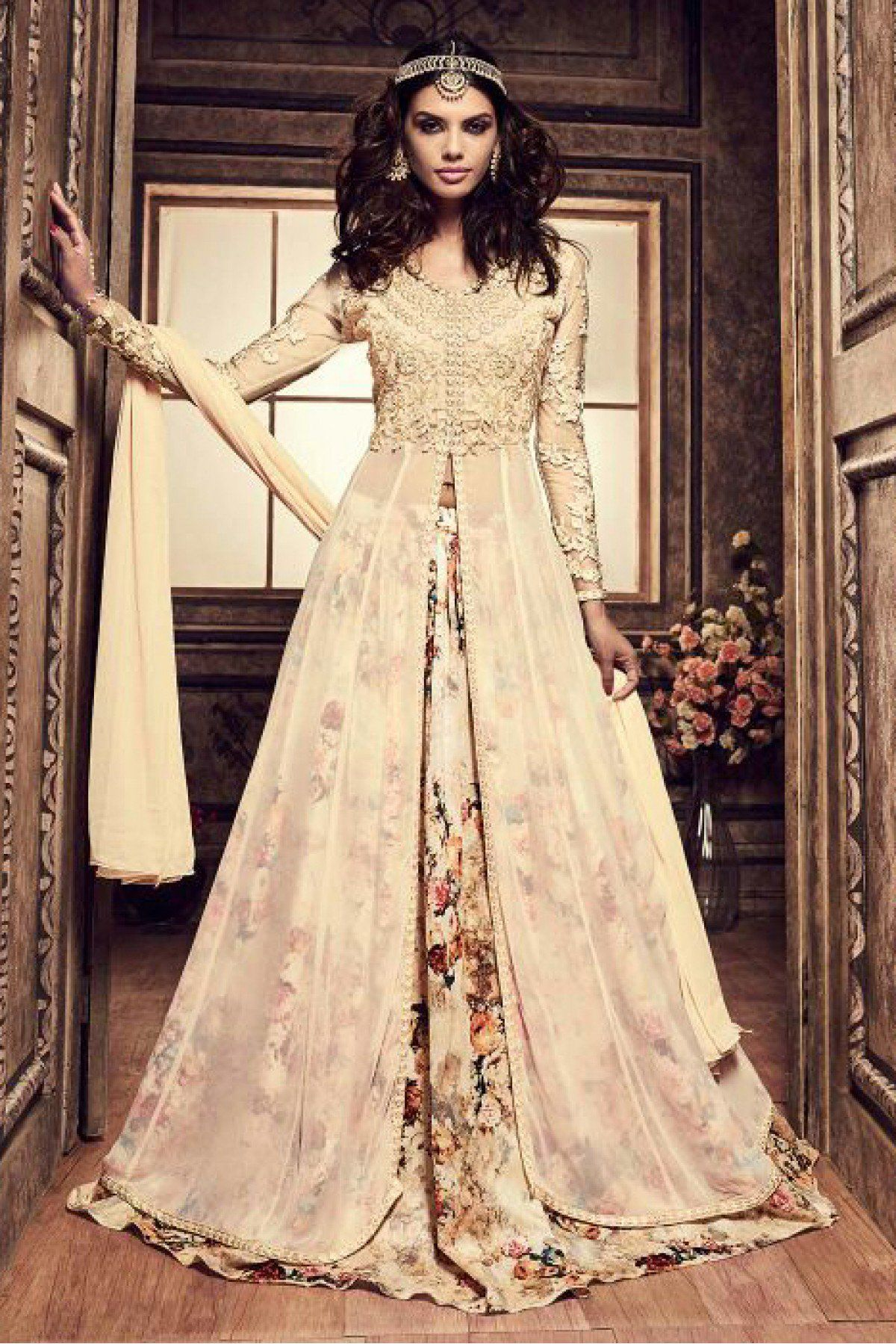 b3d43bd84 Pure Silk Lehenga Suit In Cream Colour | Indian wear | Floral ...