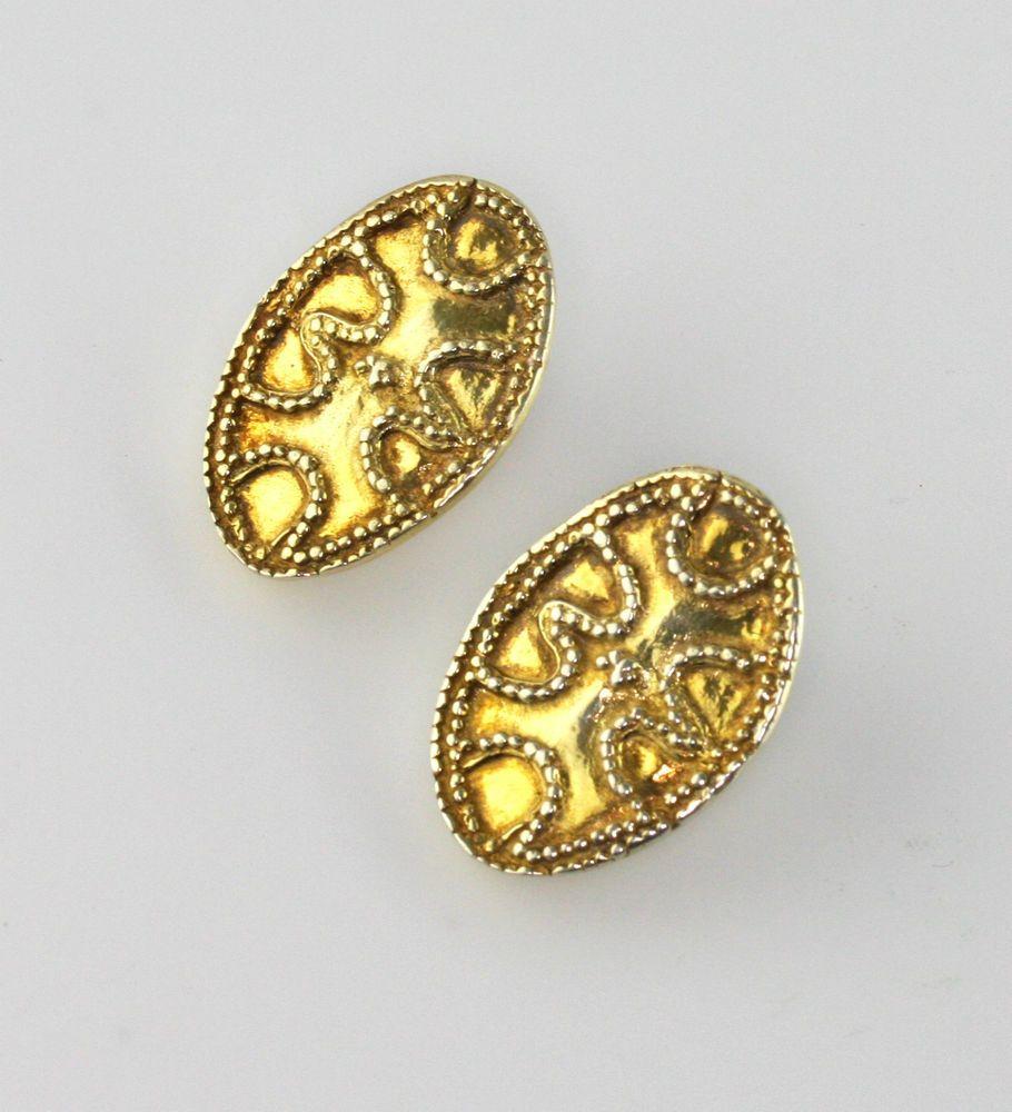Vintage Zolotas Gilt Sterling Ancient Greek Revival Clip On Earrings Antique Jewelry Clip On Earrings Fine Earrings