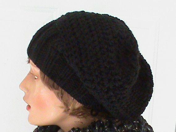 #Slouchy #beanie hat- black - Oversized - crochet, knit - handmade - vegan friendly - baggy, womans hat accessory, teen beanie
