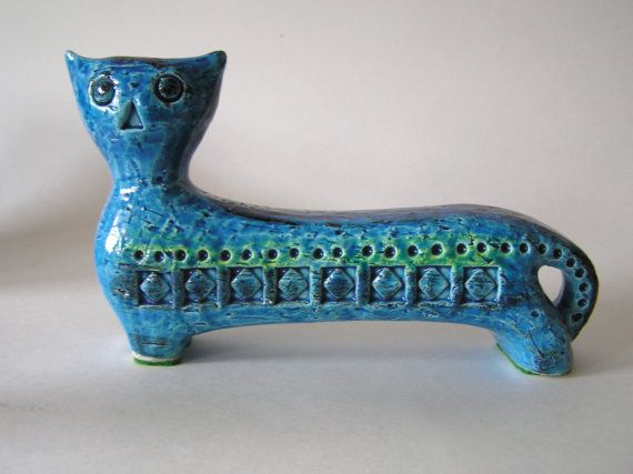 Bitossi Rhimi Blue Cat Statue Designed by by MannHandledVintage
