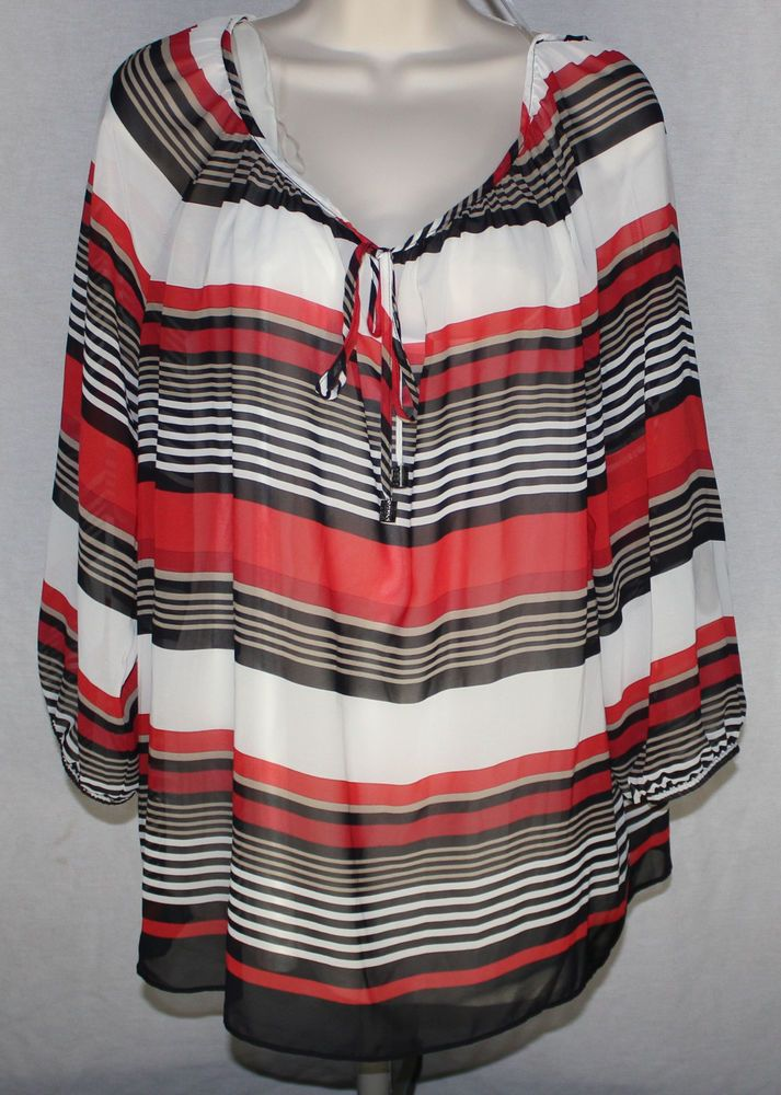 Striped Chiffon Blouse XL Keyhole Tie Neck Attached Cami Top AB Studio ‪#‎striped‬ ‪#‎chiffon‬ ‪#‎blouse‬ ‪#‎keyhole‬ ‪#‎tie‬ ‪#‎cami‬ ‪#‎top‬ ‪#‎abstudio‬