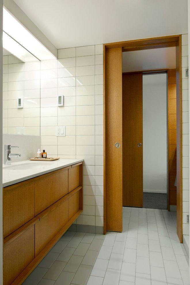 Modern Pocket Doors Bathroom Midcentury With Condo Renovation