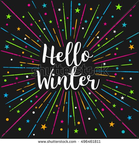 Hello Winter Text Color Sunburst.Vector Lettering Card Illustration Design Calligraphy Style. Winter Season Card, People Greetings