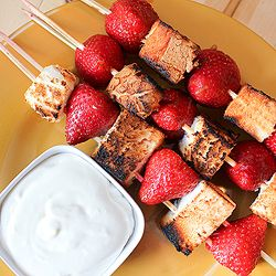 Grilled strawberry angel food cake kebobs