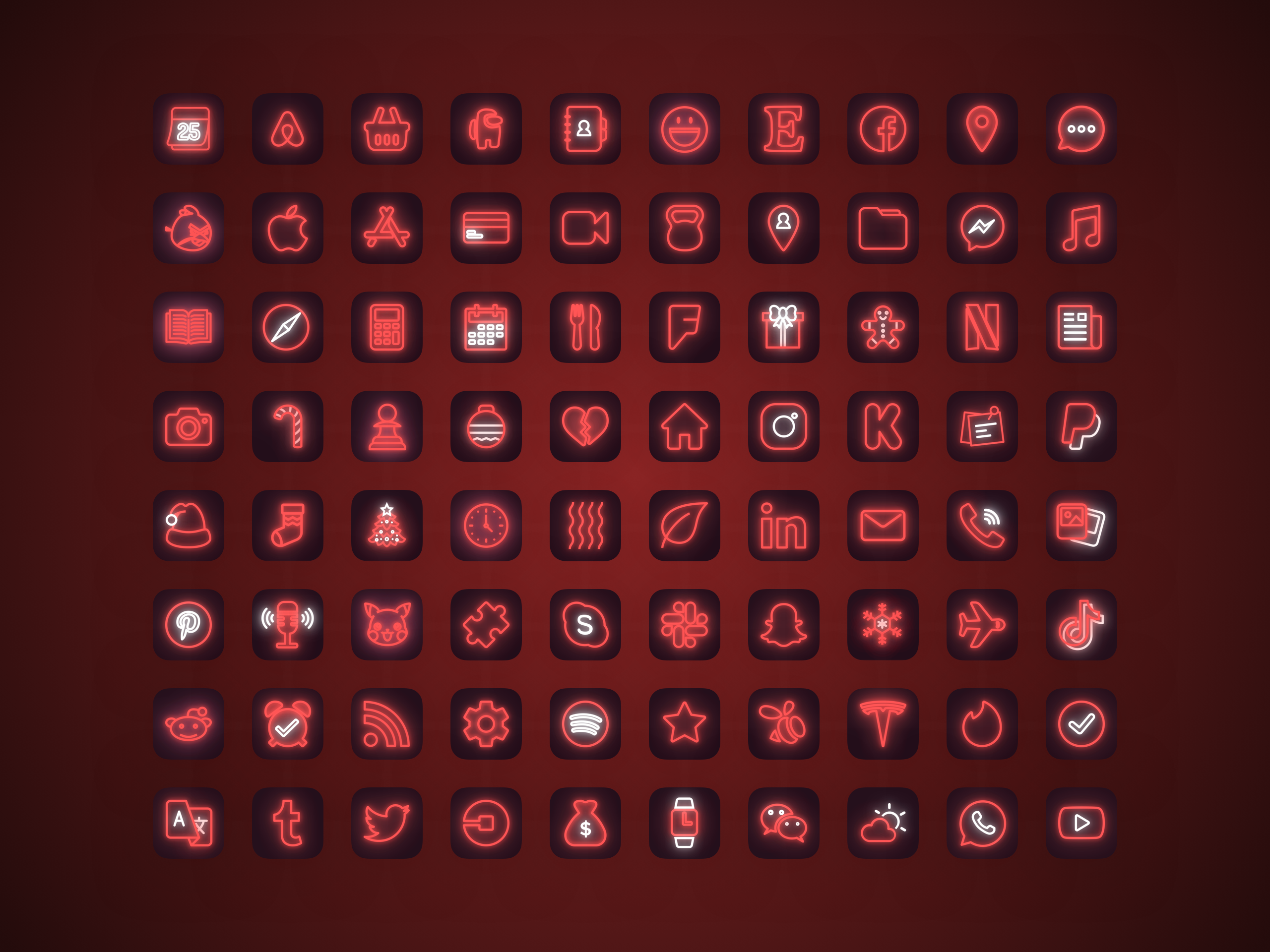 12010 Red Neon Ios 14 App Icons Christmas Aesthetic For Etsy In 2021 App Icon Homescreen Iphone Wallpaper App