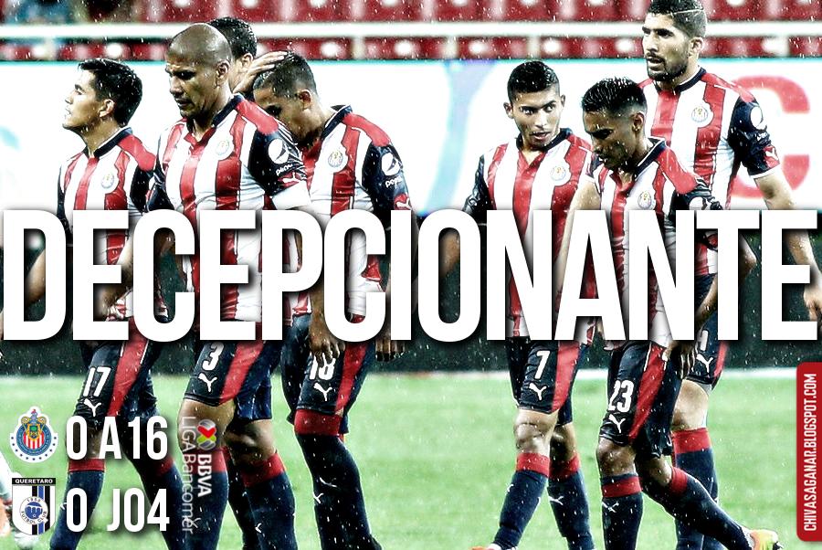 CHIVAS 0-0 GALLOS    QUIERE PERO NO PUEDE Con una lluvia constante, el Guadalajara empata a cero goles con Gallos Blancos del Querétaro en el estadio Chivas.
