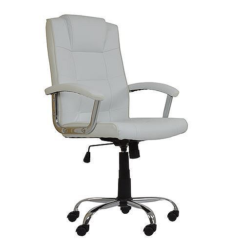Desk Chair Tesco Red Plastic Outdoor Chairs Direct Stratos White Faux Leather Office Bedroom