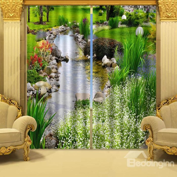 3D Wonderful Stream of Water and Green Plant Printed Natural Style  Polyester Curtain
