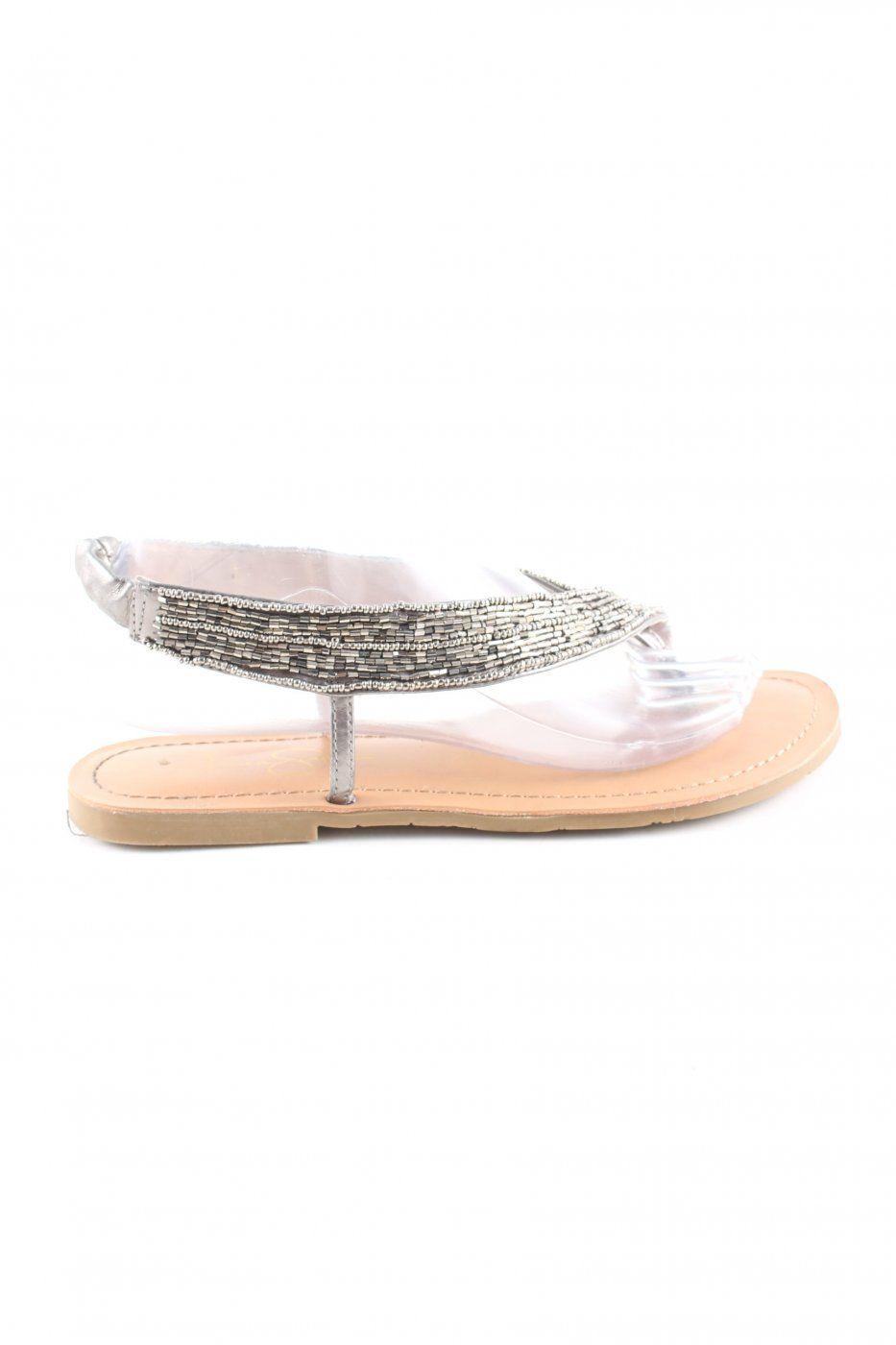 Jessica Simpson Riemchen-Sandalen silberfarben-nude Casual-Look   Mädchenflohmarkt