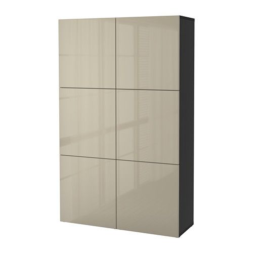 BESTÅ Storage combination with doors, black-brown, Selsviken high - Wohnzimmer Ikea Besta