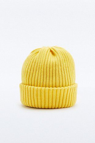 Urban Outfitters Yellow Ribbed Watchman Beanie  c914a66a1b8