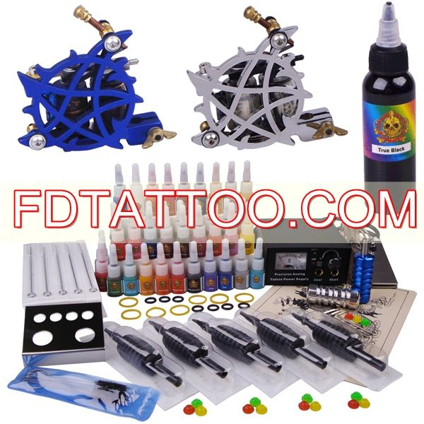 Pro Tattoo Kit With 2 Top Guns 40 Inks Power Supply 1 2oz Ink