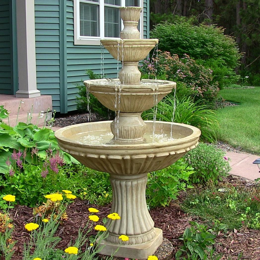 Sunnydaze Classic 3 Tier Designer Water Fountain, 55 Inch Tall, Grey,  Outdoor