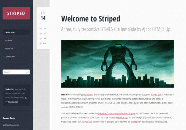 Striped: The free HTML5 website template of the week - Check it out ...