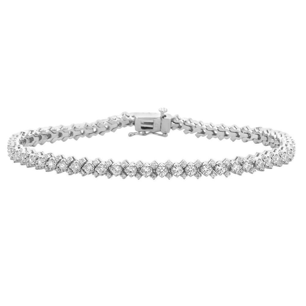 Women S 10k White Gold 3 Ct Diamond Link Tennis Bracelet 7 Inches Christmas Caratsforyou Tennis Diamond Bracelets Gold Jewelry