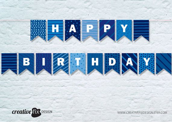 Happy Birthday Banner Blue Printable Banner Blue Happy