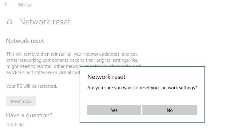 How To Reset Network Settings In Windows 10 Version 1909 Windows