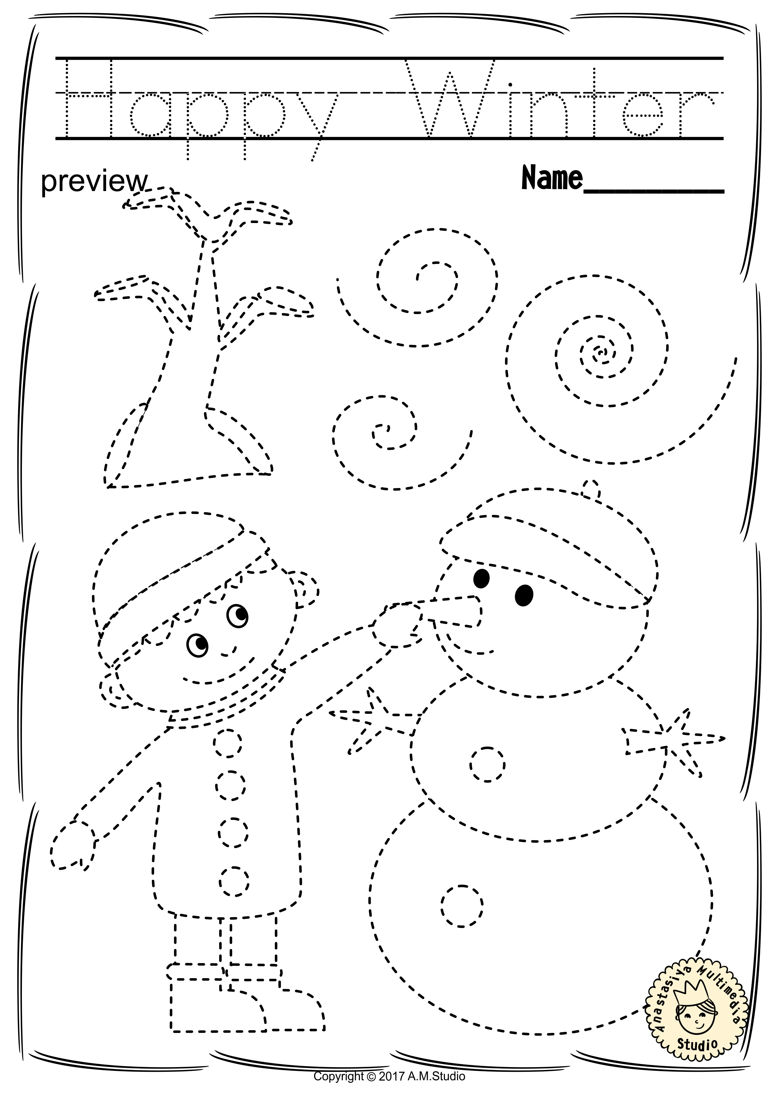 Winter Trace and Color Pages {Fine Motor Skills + Pre