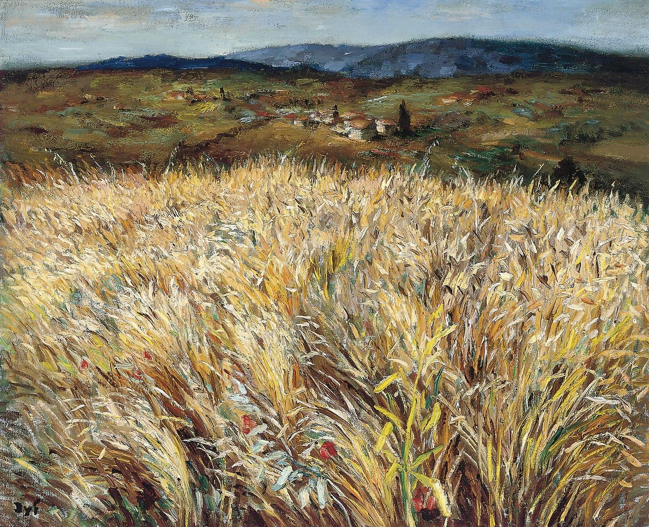 Marcel Dyf French 1899 1985 Champ De Blé Et Village En Provence Wheat Field And Village In Provence C 1960 Oil O Landschappen Landschap Stadsgezichten