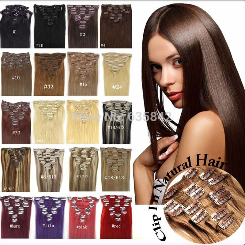 22inches 55cm 100g 8pcsset Clip In Hair Extension Straight Real