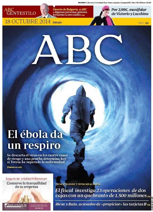 La portada de ABC del sábado 18 de octubre