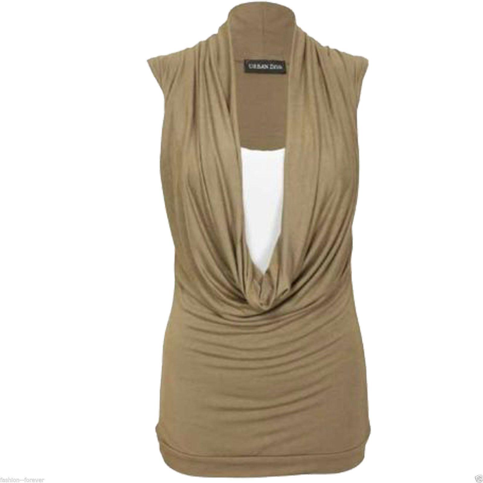 12d21bf626136 Ladies Women Gathered Cowl Neck Top Vest Sleeveless Deep Neck Top Blouse