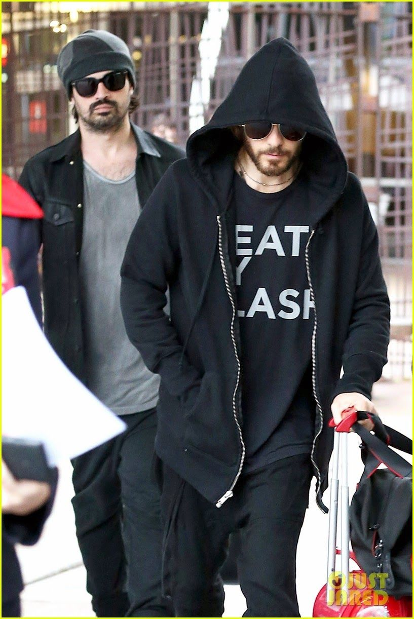 Jared Leto Arriving At The Airport With His 30 Seconds To Mars