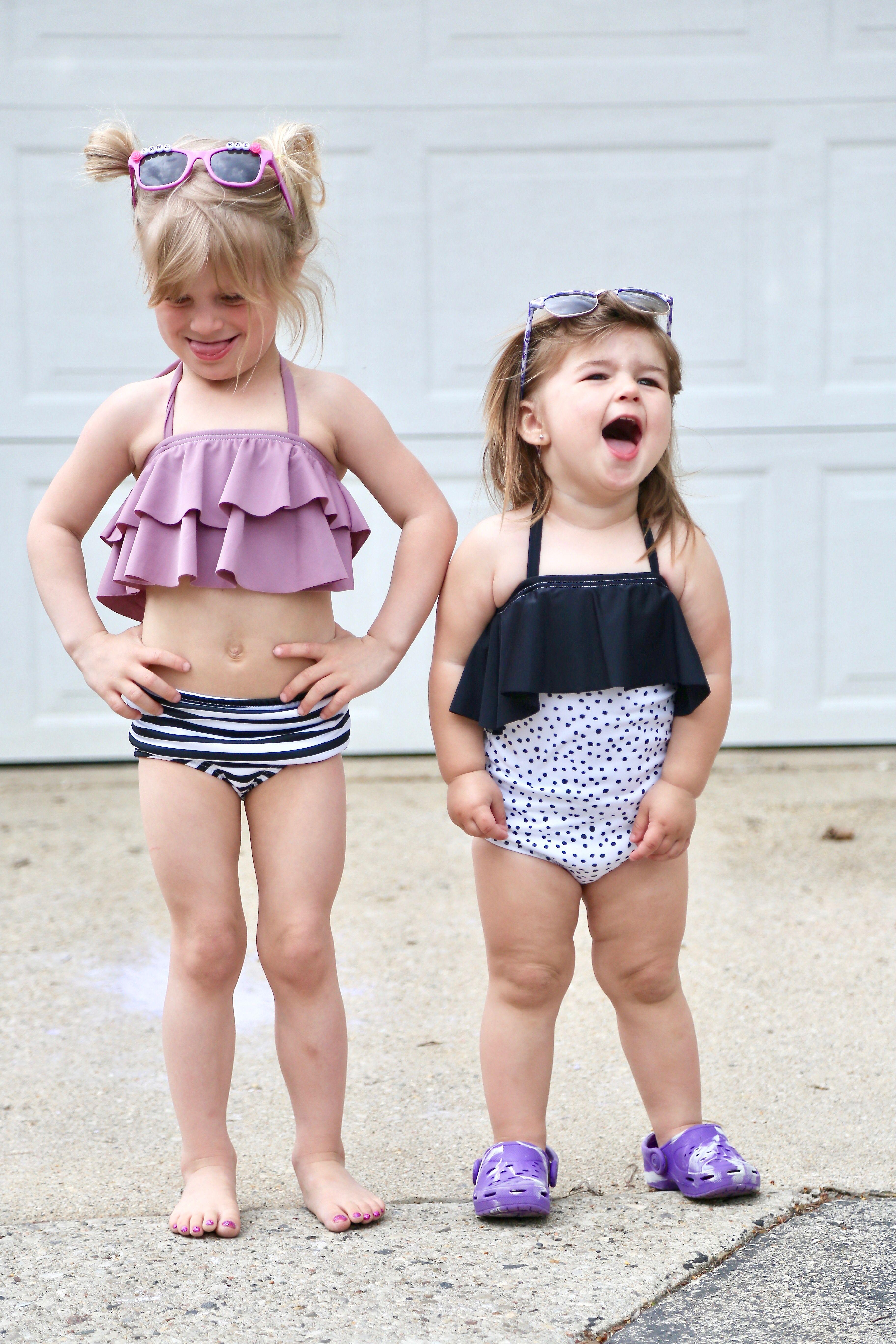 7af4b20725 Trendy girls handmade one piece ruffle monochrome polka dot swimsuit //  Summer vacation kids bathing