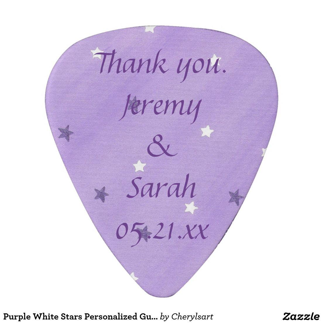 Purple White Stars Personalized Guitar Picks Favor Guitar Pick