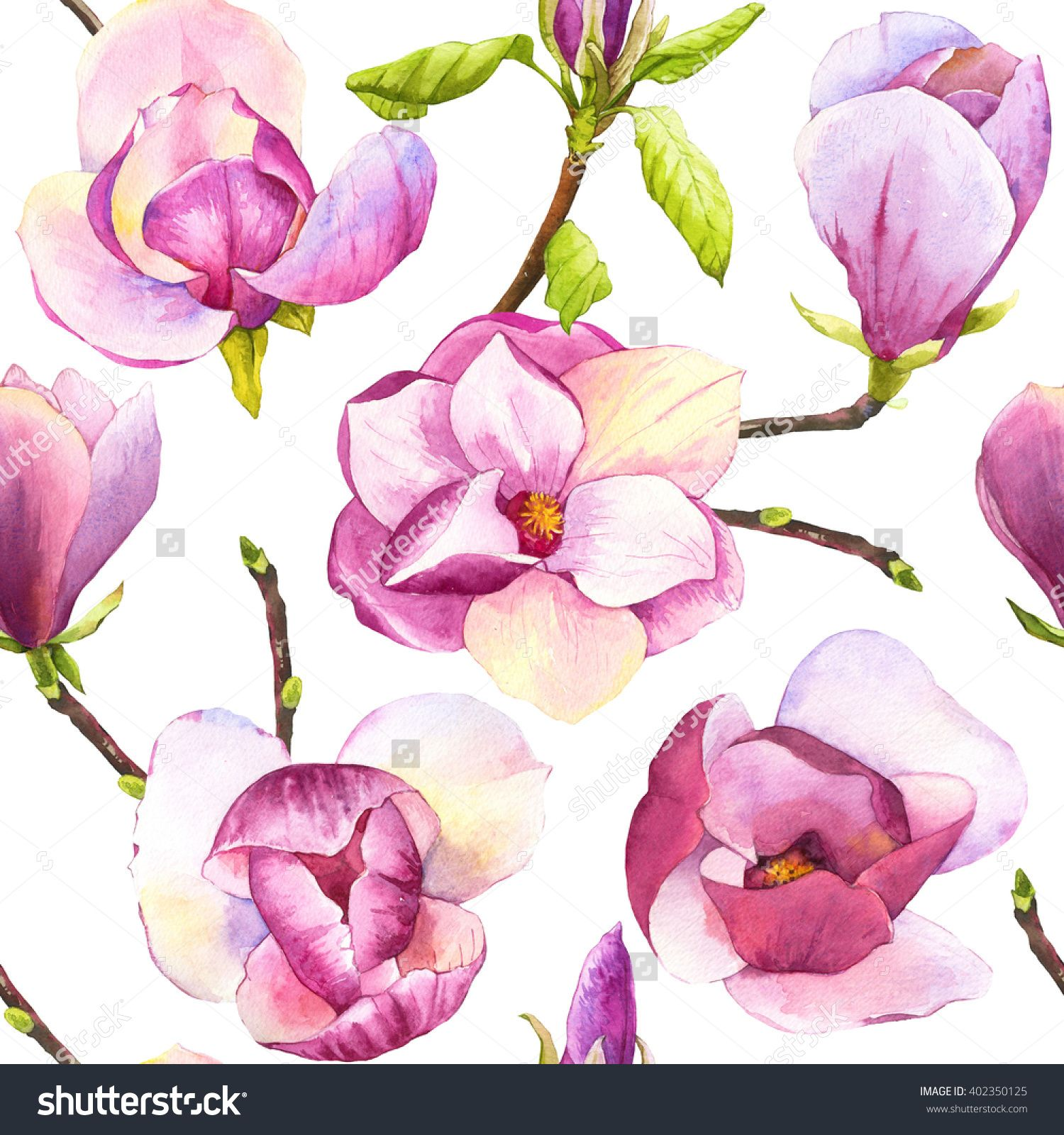Spring Seamless Background With Watercolor Magnolias Floral Purple