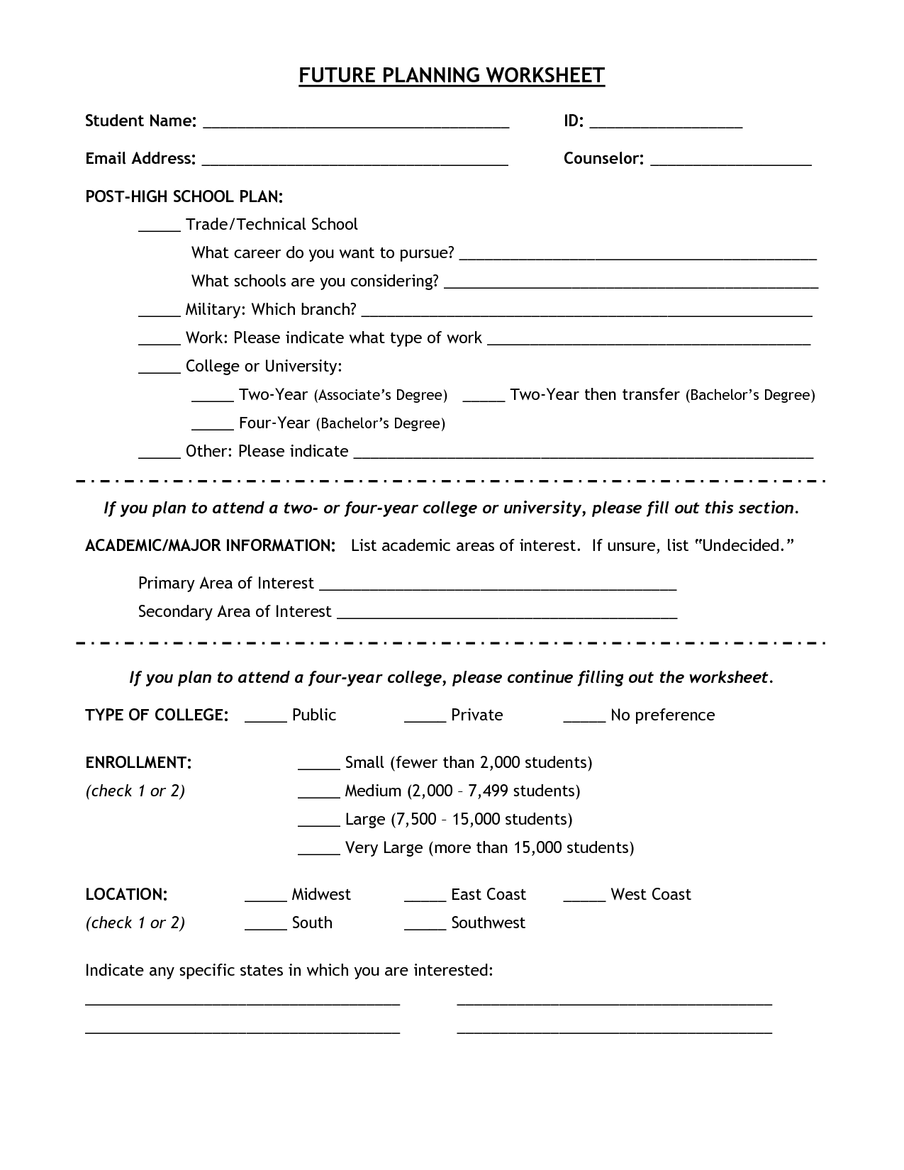 High School Career Planning Worksheet Future Plans
