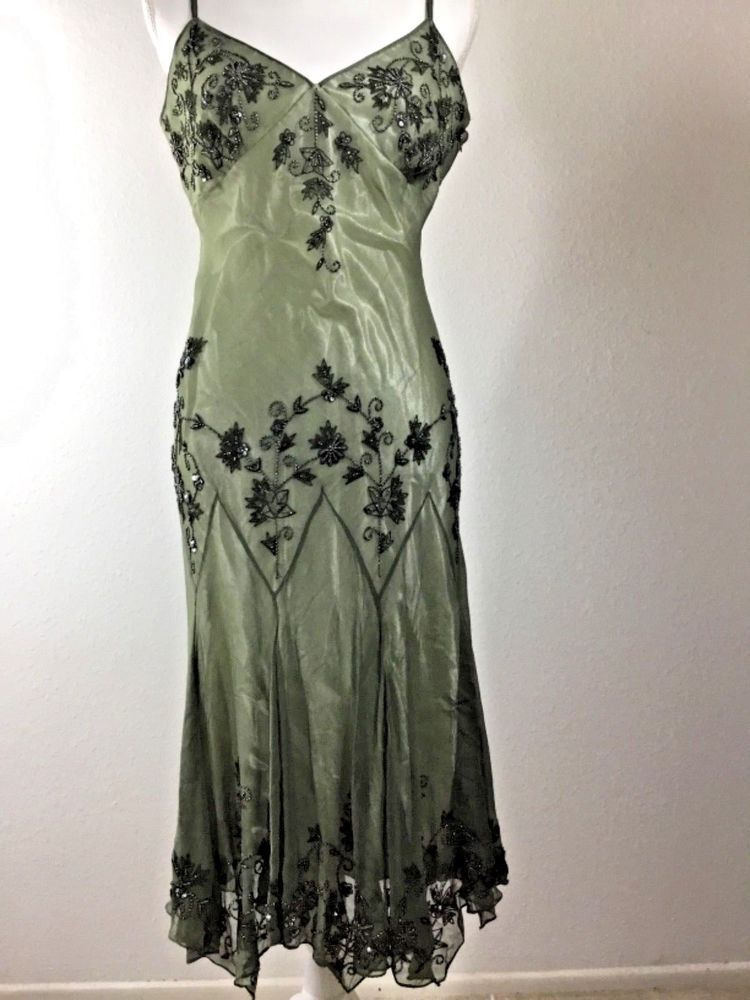 Papell Boutique Christmas Party Dress Silk Beaded Flapper Gatsby