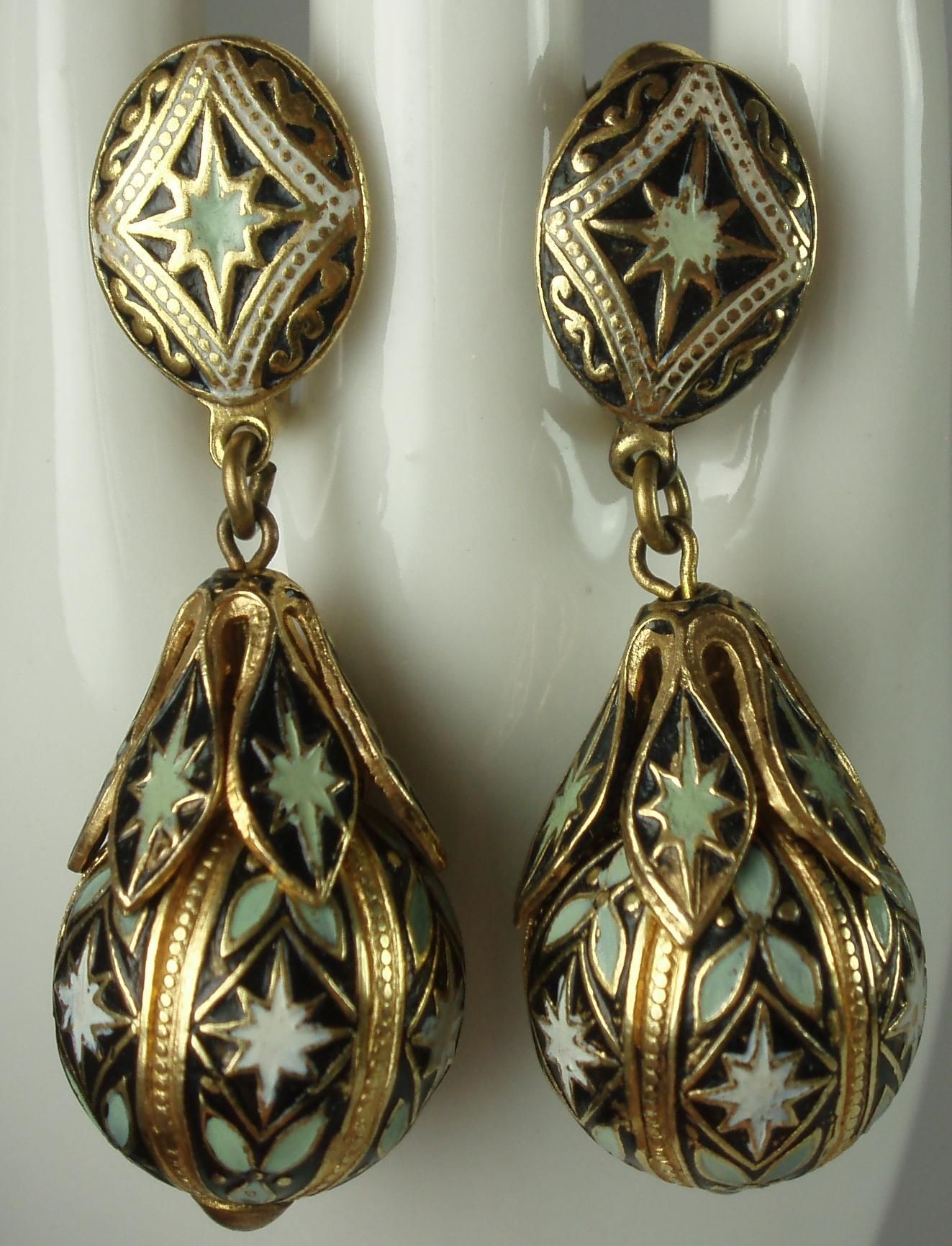 Lovely Spanish Toledo Ware Vintage Earrings