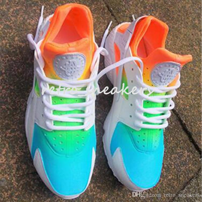 100% authentic e83c4 8f0ca 2018 New Air Huarache Rainbow Sky Blue Running Shoes for Men and Women Huaraches  Ultra Shoes Multicolor Black Huarache White Sneakers