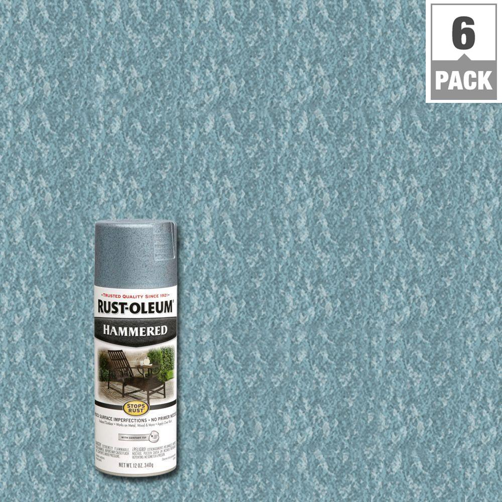 Rust Oleum Stops Rust 12 Oz Hammered Light Blue Protective Spray Paint 6 Pack 7212830 The Home Depot Rustoleum Spray Paint Hammered