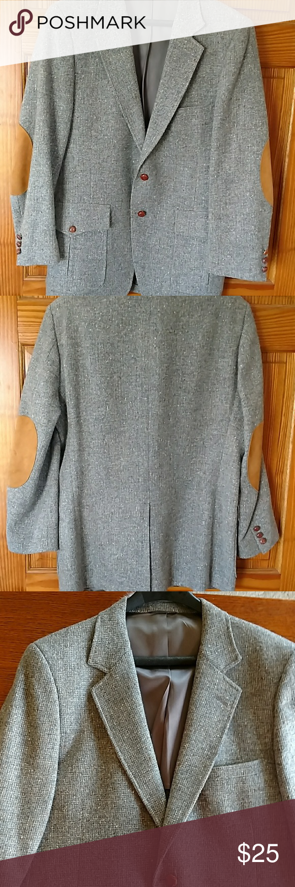 Men's Vintage suit jacket. Size L Gray Tweed with elbow
