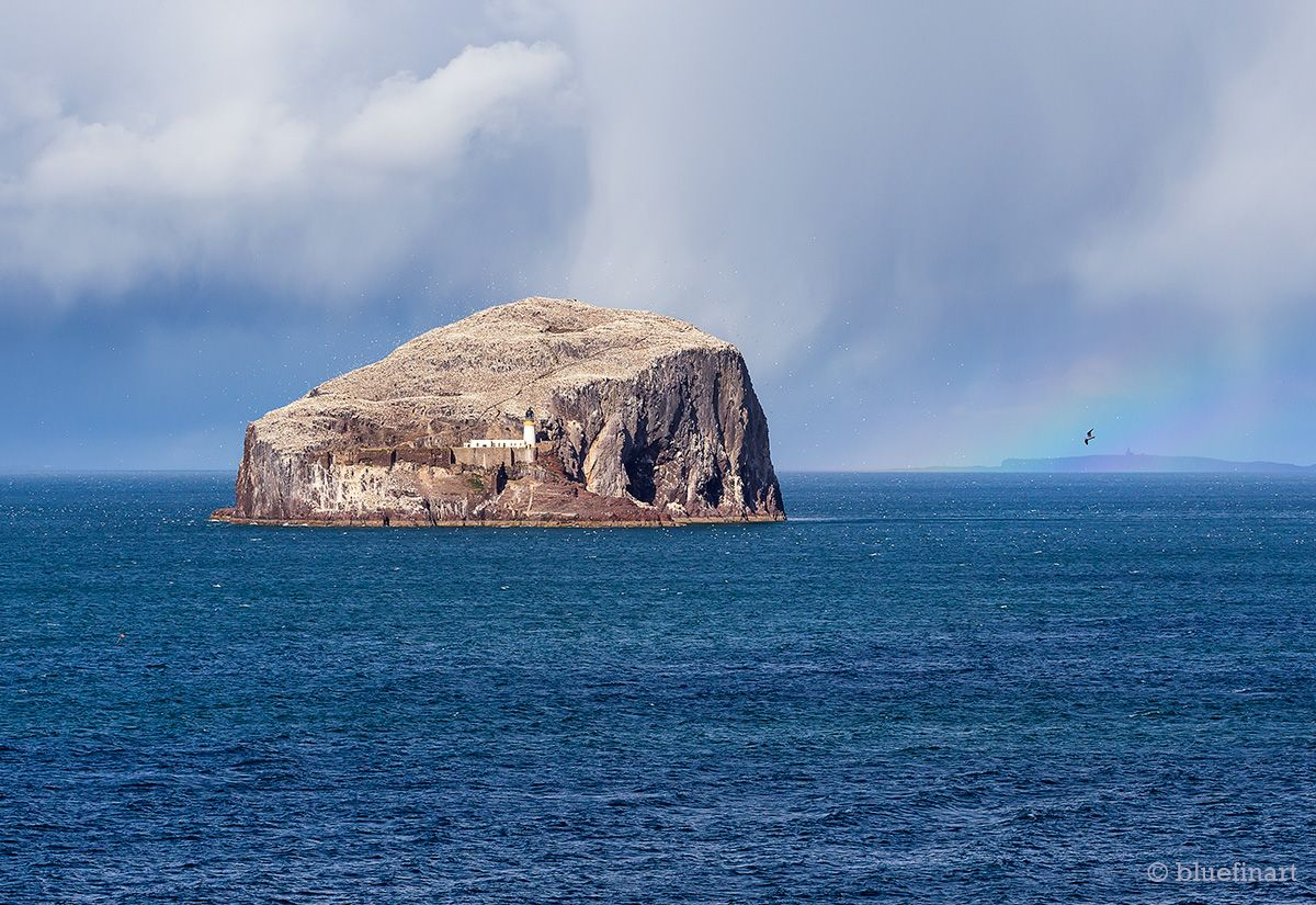 Bass Rock from North Berwick with a rainbow.  <3